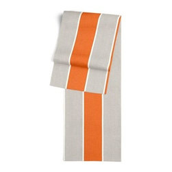 Orange & Grey Awning Stripe Custom Table Runner - Get ready to dine in style with your new Simple Table Runner. With clean rolled edges and hundreds of fabrics to choose from, it's the perfect centerpiece to the well set table. We love it in this wide outdoor awning stripe in bright orange and gray. As perfect inside as poolside.