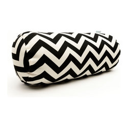 Majestic Home - Outdoor Black Chevron Round Bolster - Add a splash of color and a little texture to any environment with these great indoor/outdoor plush pillows by Majestic Home Goods. The Majestic Home Goods Round Bolster Pillow will add additional comfort to your living room sofa or your outdoor patio. Whether you are using them as decor throw pillows or simply for support, Majestic Home Goods Round Bolster Pillows are the perfect addition to your home. These throw pillows are woven from Outdoor Treated polyester with up to 1000 hours of U.V. protection, and filled with Super Loft recycled Polyester Fiber Fill for a comfortable but durable look. Spot clean only.