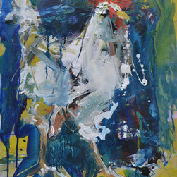 """Original Rooster Painting - 16"""" x 20"""", Mixed media on paper."""
