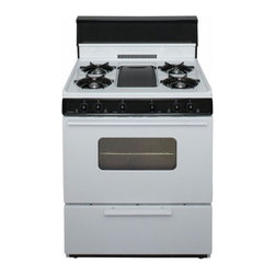 "Premier - BFK5S9WP ADA Compliant White 30"" Three-Way Top Cordless Battery Spark Gas Range - The BFK5S9WPWhite 30 Three-Way Top Cordless Battery Spark Gas Range from Premier is a very unique range it is great for families of all sizes and has several features It has the oven capacity of 39 cu ft five cooktop burners and the fifth center burn..."