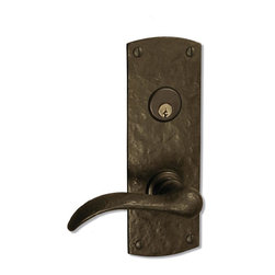 "Coastal Bronze 210 Series Solid Bronze Mortise Door Entry Set - Medium Arch Plat - The Coastal bronze 210 Series Solid Bronze Mortise Door Entry Set features a medium 8"" x 2 3/4"" arch plate with mortise door prep. Includes your choice of lever, knob or ring turn. Each is a perfect blend of craftmanship in traditional and contemporary design to complement any decor. A living patina finish, the metallic bronze hardware darkens to an old-penny brown then eventually to a greenish/blue patina when exposed to the elements."