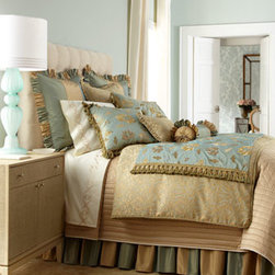 """Jane Wilner Designs - Jane Wilner Designs """"Isis"""" Bed Linens - A fresh vision of glamour in blue and gold, """"Isis"""" bedding from Jane Wilner Designs is finished with an abundance of tassels and ruffles. Made in the USA of imported fabrics. Dry clean. """"Isis"""" brocade duvet covers and matching shams are rayon/polyester. Striped and floral linens are made of silk."""