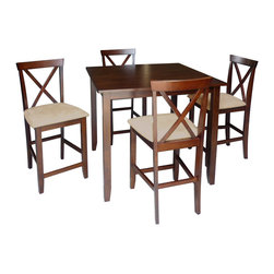 Baxton Studio - Natalie 5-piece Counter Set - Turn any empty nook into an extra dining area with this compact five-piece dining set. The table and chairs are at counter height,making this an ideal set for a home bar. Durable rubber wood offers both strength and style for any contemporary home.