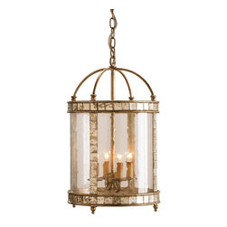 Kathy Kuo Home - Corsica Glass Cylinder Antique Mirror Tile 4 Light Pendant Lamp - Vintage styling and an elegant combination of materials make this four-light lantern perfect for French country, nautical and vintage inspired spaces. Inlaid antiqued mirror enhances an antiqued silver leaf framework. Seeded bent glass is the finishing touch that pulls it all together.