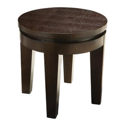 Sunpan Imports - Asia Round Leg End Table in Espresso Finish - Function and form make a beautiful combination. Pair this end table with a matching Asia cocktail table. Round styling is contemporary and bold with squared legs featuring a slight taper. A solid top is accented with espresso finish veneers and a recessed rim. Made from heavy ash and elm wood veneers. 19.75 in. W x 19.75 in. D x 20 in. HA solid and functional table that has striking presence.