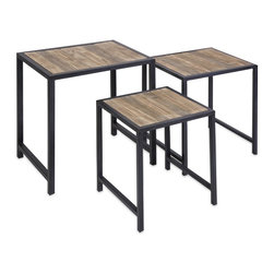 iMax - iMax IK Groveport Nesting Tables-Set of 3 X-3-54147 - This set of three nesting tables feature a light finish wood with dovetail design and are a great space saving set to add to any room!