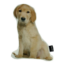 Golden Retreiver Puppy Shaped 15X11 Pillow (Indoor/Outdoor) - 100% polyester cover and fill.  Suitable for use indoors or out.  Made in USA.  Spot Clean only