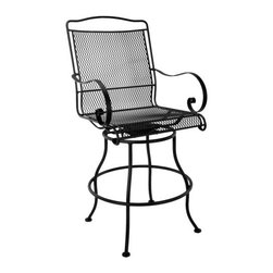 O.W. Lee Avalon Swivel Counter Stool with Arms - The O.W. Lee Avalon Swivel Counter Stool makes a fabulous complement to any outdoor bar setting. Part of the luxurious Avalon Collection of outdoor patio furniture, the counter-height stool features attractive details like spiraled arms and hand-crafted wrought iron construction. The micro mesh seat is already comfortable, but the ability to swivel 360 degrees and gently rock make it even more special. Weight: 44 pounds. Seat height: 25 inches. Dimensions: 23W x 26D x 47H inches. Please note: This item is not intended for commercial use. Warranty applies to residential use only.Materials and construction:Only the highest quality materials are used in the production of O.W. Lee Company's furniture. Carbon steel, galvanized steel, and 6061 alloy aluminum is meticulously chosen for superior strength as well as rust and corrosion resistance. All materials are individually measured and precision cut to ensure a smooth, and accurate fit. Steel and aluminum pieces are bent into perfect shapes, then hand-forged with a hammer and anvil, a process unchanged since blacksmiths in the middle ages.For the optimum strength of each piece, a full-circumference weld is applied wherever metal components intersect. This type of weld works to eliminate the possibility of moisture making its way into tube interiors or in a crevasse. The full-circumference weld guards against rust and corrosion. Finally, all welds are ground and sanded to create a seamless transition from one component to another.Each frame is blasted with tiny steel particles to remove dirt and oil from the manufacturing process, which is then followed by a 5-step wash and chemical treatment, resulting in the best possible surface for the final finish. A hand-applied zinc-rich epoxy primer is used to create a protective undercoat against oxidation. This prohibits rust from spreading and helps protect the final finish. Finally, a durable polyurethane top coating is hand-applied, and oven-cured to ensure a long lasting finish.About O.W. Lee CompanyAn American family tradition, O.W. Lee Company has been dedicated to the design and production of fine, handcrafted casual furniture for over 60 years. From their manufacturing facility in Ontario, California, the O.W. Lee artisans combine centuries-old techniques with state-of-the-art equipment to produce beautiful casual furniture. What started in 1947 as a wrought-iron gate manufacturer for the luxurious estates of Southern California has evolved, three generations later, into a well-known and reputable manufacturer in the ever-growing casual furniture industry.