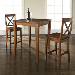Crosley Furniture - 3 Pc Pub Dining Set w Cabriole Leg and X-Back - Includes Pub Table and 2 X-Back Stools in Classic Cherry. Solid Hardwood & Veneer Construction Table . Solid Hardwood Stools. Hand Rubbed, Multi-Step Finish. Solid Hardwood, Carved Cabriole Style Legs. Shaped Back for Comfort. Table Dimensions: 36 in. H x 32 in. W x 32 in. D. Stool Dimensions: 40 in. H x 18.5 in. W x 22.5 in. DConstucted of solid hardwood and wood veneers, the 3 piece Pub / High Dining set is built to last. Whether you are looking for dining for two, or just a great addition to the basement or bar area, this set is sure to add a touch of style to any area of your home.