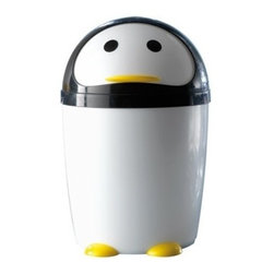 Gedy - Round Black and White Plastic Penguin Waste Bin - If your bathroom lacks a waste bin, why not consider this decorator waste bin from the Gedy Peng collection? Perfect for more modern & contemporary settings, this designer waste bin is floor standing and finished with white/black.