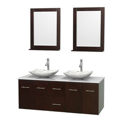 """60"""" Double Bathroom Vanity, Man-Made Stone Countertop, Sinks, 24"""" Mirror - Simplicity and elegance combine in the perfect lines of the Centra vanity by the Wyndham Collection. If cutting-edge contemporary design is your style then the Centra vanity is for you - modern, chic and built to last a lifetime. Available with green glass, pure white man-made stone, ivory marble or white carrera marble counters, with stunning vessel or undermount sink(s) and matching mirror(s). Featuring soft close door hinges, drawer glides, and meticulously finished with brushed chrome hardware. The attention to detail on this beautiful vanity is second to none."""