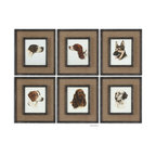 Uttermost - Uttermost 55001  Special Friends Wall Art Set/6 - Medium brown burlap mats surround the prints. frames and fillets have a black base coat with heavy brown and taupe distressing accented with gold dry brushing.