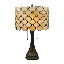 """Meyda Tiffany - 21""""H Giacomo Table Lamp - Diamond patterns of Iridized Ivory and Bone Beige are accented with sparkling-clear, jeweled droplets in this elegant high fashion lamp shade. The versatile art glass shade is created using copper foil construction, a process developed by the world famous artist and master craftsman Louis Comfort Tiffany. The shade is complemented by a stunning base hand finished in a warm Mahogany Bronze.  Ideal for ambient, accent and decorative lighting on tables and countertops in fine homes, restaurants, hotels and retail and commercial settings.  Energy efficient lamping options.  Unlisted."""