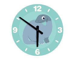 Nursery Code - LARGE DINOSAUR CLOCK for boys nursery room- Dinosaur Illustration - Dinosaur wall clock for boys nursery room - Large round wall clock for nursery wall décor