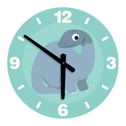 Nursery Code - LARGE DINOSAUR CLOCK for boys nursery room- Dinosaur Illustration - Dinosaur wall clock for boys nursery room - Large round wall clock for nursery wall décor
