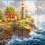The Tile Mural Store (USA) - Tile Mural - Peace In The Storm  - Kitchen Backsplash Ideas - This beautiful artwork by Judy Gibson has been digitally reproduced for tiles and depicts a lighhouse scene.  Our lighthouse tile murals and nautical themed decorative tiles are perfect as part of your kitchen backsplash tile project or your tub and shower surround bathroom tile project. Lighthouse images on tiles add a unique element to your tiling project and are a great kitchen backsplash idea. Use a lighthouse scene tile mural for a wall tile project in any room in your home where you want to add interest to a plain field of wall tile.