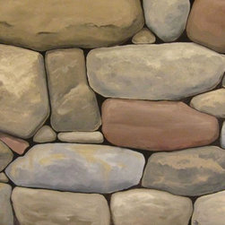 Faux stone painting samples - Realistic faux stone, painted on wall for client.