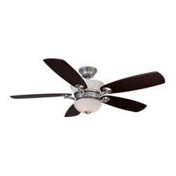 Hampton Bay - Indoor Ceiling Fans: Hampton Bay Minorca 52 in. Indoor Brushed Nickel Ceiling Fa - Shop for Lighting & Fans at The Home Depot. The Hampton Bay Minorca 52 in. ceiling fan in brushed nickel finish includes (5) reversible blades in elm and mahogany finishes and a standard remote control with manual reverse function. The sleek housing compliments many different decors while functioning quietly in whatever setting it is installed. Featuring a custom-designed matte opal up light/down light kit with (2) 60-watt candelabra and (4) 15-watt candelabra bulbs Included. The patented Aero Breeze Technology moves up to 25% more air than standard fans for increased comfort and energy savings. This ceiling fan is perfect for large room use.