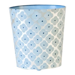 Worlds Away Oval Wastebasket, Blue and Silver - Oval wastebasket blue and silver.