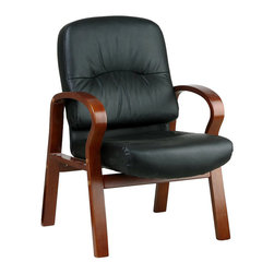 Office Star - Leather Visitors Chair w Cherry Finish Base & Arms - Your guests will take the seat of honor in this attractive and comfortable Visitors Chair.  Rich leather surfaces provide sublime comfort, while the dramatically curved seat frame glows with a lustrous Cherry finish.  Spectacular alone or as part of an office grouping. * Contour Seat and Back with Built-in Lumbar Support. Black recycled Eco-Leather. Cherry Finish Wood Arms and Base.  Seat Size: 21W x 19.5D x 4T. Back Size: 21W x 23H x 4T. Overall Max: 37.5H x 26W x 29D