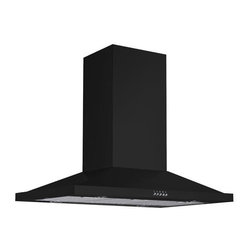 """36"""" Artisan Series Stainless Steel Black Island Range Hood - 600 CFM - With a simple design, modern shape and Black Powder Coat finish, this stainless steel range hood complements contemporary and eclectic kitchens alike. Made for use above a kitchen island stovetop."""
