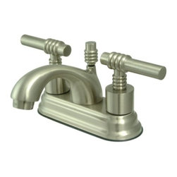 """Kingston Brass - Satin Nickel Two Handle 4"""" Centerset Lavatory Faucet with Brass Pop-up KS2608ML - This bathroom faucet features a timeless appeal with its majestic, artistic, and fashionable design. This faucet has a deck mount setup and features a 4"""" centerset installation. The body is fabricated from solid brass for durability and long-lasting use. The color finish is made of satin nickel for its silvery, satin-like cast, as well as resisting scratches, corrosion and tarnishing. The spout has a reach of 4"""" and a height of 3-1/2"""". The handles allow for easy management of water volume and temperature. The faucet operates with a ceramic disc valve for droplet-free functionality with the water measured 2.2 GPM (8.3 LPM) and a 60 PSI maximum rate.  An integrated removable aerator is inserted beneath the spout's head piece for conserving water flow. A brass pop-up drain in a matching finish is included. All mounting hardware is included and standard US plumbing connections are used. A 10-year limited warranty is provided to the original consumer.. Manufacturer: Kingston Brass. Model: KS2608ML. UPC: 663370020544. Product Name: Two Handle 4"""" Centerset Lavatory Faucet with Brass Pop-up. Collection / Series: Royale. Finish: Satin Nickel. Theme: Contemporary / Modern. Material: Brass. Type: Faucet. Features: Drip-free ceramic cartridge system"""