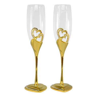 Unik Occasions - Stunning Wedding Toasting Flutes/Champagne Glasses - Add a dash of gold to your wedding with this set of gold champagne glasses! With the stem and base covered in rich gold, this elaborate set is a wonderful way to emphasize the little details of your wedding. The rhinestone-rimmed heart base and the rhinestone-embellished double-heart design on the glasses adds a romantic touch to your special day.