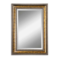 """Uttermost - Sinatra Gold Vanity Mirror - Frame features a hand applied gold leaf undercoat with blotched brown stain, black speckling and a dark gray glaze. Mirror has a generous 1 1/4"""" bevel."""