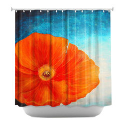 DiaNoche Designs - Poppy Shower Curtain - Sewn reinforced holes for shower curtain rings. Shower Curtain Rings Not Included. Dye Sublimation printing adheres the ink to the material for long life and durability. Machine Washable. Made in USA.