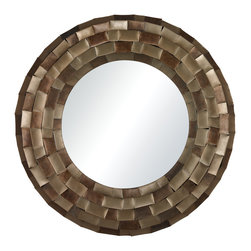 Sterling Industries - South Sunrise-Large Mirror In Plated Metal Tile Frame - This mirror just reminds me of the just before dawn the early morning sunrise.  A stunning round mirror that has a plated gold, bronze and silver antiqued frame.  This is a beautiful mirror that would be a wonderful accent in any room.
