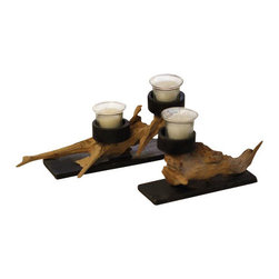 ParrotUncle - Decorative Driftwood Interior Candle Holder 2-Piece Set - Decorative Driftwood Interior Candle Holder 2-Piece Set,Natural drifwood shaped candle holders Comely driftwood shaped candle holders