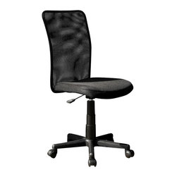 Techni Mobili - TECHNI MOBILI Executive 9300B Mesh Office Chair in Black - Techni Mobili - Office Chairs - RTA9300BBK - Increase your comfort level with Techni Mobili's meshback office chair! Featuring a breathable mesh back support this chair is sureto meet your needs. Pneumatic height adjustment makes this chair easilycustomizable to your personal preferences while nylon wheels and heavy duty nylonbase make this chair both durable and stable. This chair also has a breathablemesh fabric seat cushion for added comfort. A stylish and modern design add thefinishing touches to this piece making this a great addition to any home oroffice.Features:
