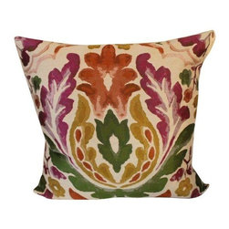 Pre-owned Colorful Floral Pillow - A colorful pillow with a watercolor-like floral design in magenta, green, gold, and orange. Two available, $425 each. Please contact support@chairish.com to purchase the pair.     There's nothing better than a chic throw pillow to add some liveliness to your space. Toss it on a bed, chair or sofa for a perfect finishing touch.