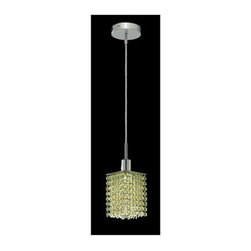 Elegant Lighting - Mini Peridot Crystal Pendant w 1 Light in Chrome (Strass Swarovski) - Choose Crystal: Strass Swarovski. 3 ft. Chain/Wire Included. Bulbs not included. Crystal Color: Lt. Peridot (Light Green). Chrome finish. Number of Bulbs: 1. Bulb Type: GU10. Bulb Wattage: 55. Max Wattage: 55. Voltage: 110V-125V. Assembly required. Meets UL & ULC Standards: Yes. 4.5 in. D x 8 to 48 in. H (3lbs.)Description of Crystal trim:Royal Cut, a combination of high quality lead free machine cut and machine polished crystals & full-lead machined-cut crystals..SPECTRA Swarovski, this breed of crystal offers maximum optical quality and radiance. Machined cut and polished, a Swarovski technician¢s strict production demands are applied to this lead free, high quality crystal.Strass Swarovski is an exercise in technical perfection, Swarovski ELEMENTS crystal meets all standards of perfection. It is original, flawless and brilliant, possessing lead oxide in excess of 39%. Made in Austria, each facet is perfectly cut and polished by machine to maintain optical purity and consistency. An invisible coating is applied at the end of the process to make the crystal easier to clean. While available in clear it can be specially ordered in a variety of colors.Not all trims are available on all models.