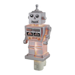 Children`s Retro 1960`s Silver Robot Night Light Nite Lite - This silver sci-fi inspired robot night light will ease your child`s fear of the dark while adding a delightful decorative accent to the room. Made of cold cast resin, it measures 7 1/2 inches tall, 3 inches wide, and 2 inches deep. It has a 360 degree swivel plug to accommodate any outlet, and it uses a 7 watt (max) type C night light style bulb (included). The light has an on/off switch on the front, and is recommended for children ages 6 and up.
