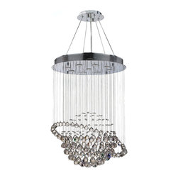 "Worldwide Lighting - Saturn 9 Light Chrome Finish Crystal Galaxy Chandelier 26"" x 36"" - This stunning 9-light Crystal Chandelier only uses the best quality material and workmanship ensuring a beautiful heirloom quality piece. Featuring a radiant chrome finish and finely cut premium grade clear crystals with a lead content of 30%, this elegant chandelier will give any room sparkle and glamour. Dual-mount option for flush or suspension. Worldwide Lighting Corporation is a privately owned manufacturer of high quality crystal chandeliers, pendants, surface mounts, sconces and custom decorative lighting products for the residential, hospitality and commercial building markets. Our high quality crystals meet all standards of perfection, possessing lead oxide of 30% that is above industry standards and can be seen in prestigious homes, hotels, restaurants, casinos, and churches across the country. Our mission is to enhance your lighting needs with exceptional quality fixtures at a reasonable price."