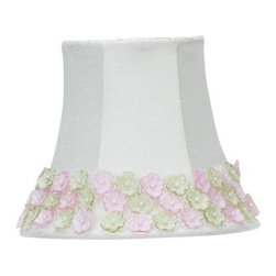 Jubilee Collection - Chandelier Shade - Pink/Green Flower Border - Material: silk, metal. 3 x 5 x 4 in.