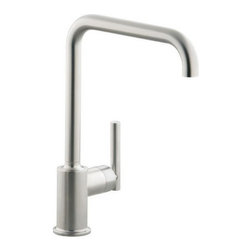 """Kohler - Kohler K-7507-VS Vibrant Stainless Purist Single Handle Swing Spout - Purist  Primary Swing Spout Kitchen Faucet without Spray The simple, architectural form of the Purist faucet line has been extended into the kitchen. Available in two sizes, the single-control design of Purist remains intuitive to use and minimal in form creating visual appeal and an honest interpretation of classic modernity.  Streamline contemporary styling makes clean-up and maintenance simple and quick  Spout rotates 360 degrees with 9-5/8"""" clearance below spout for maximum versatility and use with large pots and pans  ADA compliant lever handle for ease of operation  Utilizes KOHLER  installation ring and flexible connections for simplicity of installation  KOHLER finishes resist corrosion and tarnishing, exceeding industry durability standards over two times  KOHLER ceramic disk valves exceed industry longevity standards by over two times, ensuring durable performance for life"""