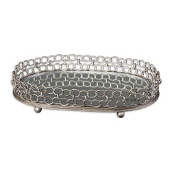 Silver Chain Lieven Mirrored Decorative Tray - *Mirrored Tray With Heavily Antiqued, Silver Champagne Metal Details.