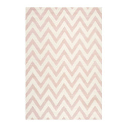Safavieh - Giuseppina Hand Tufted Rug, Light Pink / Ivory 6' X 9' - Construction Method: Hand Tufted. Country of Origin: India. Care Instructions: Vacuum Regularly To Prevent Dust And Crumbs From Settling Into The Roots Of The Fibers. Avoid Direct And Continuous Exposure To Sunlight. Use Rug Protectors Under The Legs Of Heavy Furniture To Avoid Flattening Piles. Do Not Pull Loose Ends; Clip Them With Scissors To Remove. Turn Carpet Occasionally To Equalize Wear. Remove Spills Immediately. Bring classic style to your bedroom, living room, or home office with a richly-dimensional Safavieh Cambridge Rug. Artfully hand-tufted, these plush wool area rugs are crafted with plush and loop textures to highlight timeless motifs updated for today's homes in fashion colors.