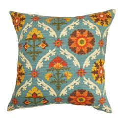 """The Pillow Collection - Carmelo Floral Pillow Blue 20"""" x 20"""" - Bright orange, yellow, green, blue, brown and white shades combine together to form this lovely throw pillow. This accent pillow features a Southern-inspired theme, which is perfect for home and office use. You can place this decor pillow anywhere inside your home and make it the highlight piece. This 20"""" pillow is ready to mix and match with solids and other patterned pillows from our collection. Made from 100% plush cotton fabric. Hidden zipper closure for easy cover removal.  Knife edge finish on all four sides.  Reversible pillow with the same fabric on the back side.  Spot cleaning suggested."""