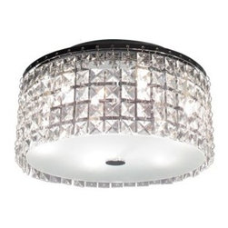 Bazz Lighting - Bazz Lighting PL3413CC Glam Series Three-Light Flush Mount Ceiling Fixture, Fini - Bazz PL3413CC Glam Series Three-Light Flush Mount Ceiling Fixture, Finished in Chrome with Glass BeadsBazz PL3413CC Features: