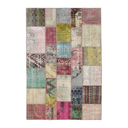 """Pre-owned Multicolor Pink Mix Turkish Patchwork Carpet - Modern and traditional Turkish patterns from an assortment of vintage pieces mix to make this hand made, naturally distressed vintage rug. Full cotton backing and decorative blanket stitch edging.    Remnants of vintage wool on a cotton warp, made entirely by hand in the '60's through '80's when Turkish women still included weaving in their daily homemaking chores. Employing the sturdy double knot technique unique to Turkish rugs, multicolor floral and medallion motifs were created a row at a time using bright hand dyed wools. Considered too old fashioned for modern Turkish homes in their traditional incarnations, these rugs have languished in back rooms of the bazaars‰Ű_until now, as these fragments in excellent condition are overdyed and combined to create modern patchwork statements for the floor.    Note from the seller: """"Our revitalization process keeps rugs that may otherwise get tossed out of landfill. Repurposed discards are helping artisans connect and create, supporting the community we're building here in Istanbul to revive vanishing traditional fiber crafts.‰Űť    Please note that all sales are final - These amazing rugs are coming direct from Istanbul, Turkey and returns will not be allowed."""