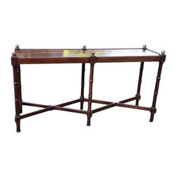 Pre-owned Brandt Furniture Faux Bamboo Oak Sofa Table - A vintage oak console table made by Brandt Furniture Company, out of Hagerstown, Maryland. The table is in a faux bamboo style with brass finials on top. There is some wear, but overall it's in good vintage condition.
