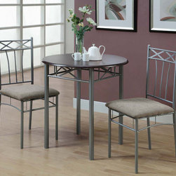 Monarch - Cappuccino / Silver Metal 3Pcs Bistro Set - This three piece bistro set offers a classic look that will blend in with any decor. This round table features a solid cappuccino finished top, and sturdy silver metal legs. The armless side chairs feature a criss-cross design and a vertical latte back with cushioned upholstered seating for comfort. The clean lines of this set will help create a rich ambiance that you and your family will love.