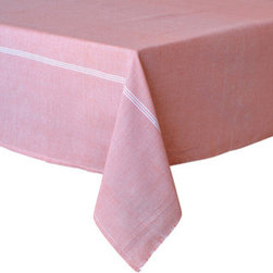 "Coulour Nature - PinStripe Tablecloth, Pink, 60"" X 60"" - PinStripe Tablecloth (Pink)"