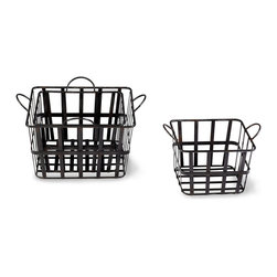 Grocery Baskets - Set of 3 - Place within them what you will: newly gathered fresh fruit, various vegetables, just-from-the-oven breads and biscuits. Or employ them to bring order to a collection of bits and pieces, odds and ends. Crafted of Raw Steel, the Grocery Baskets are as stylish as they are sturdy. Two handles allow for ease in carrying. Set of three.