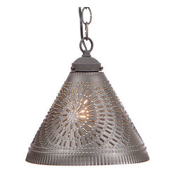 Irvin's Tinware - Wellington Shade Light in Kettle Black - This pendant light would be great with 3 suspended over a kitchen island or in a group over the bathroom vanity. A single pendant over the sink would be the perfect accent.