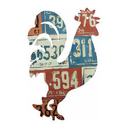 Rooster Shaped License Plate Collage Metal Wall Art - This cool piece of art is sure to be admired by all that view it, and it complements most any home decor! It is a rooster shaped collage of old license plates, and adds a bit of rustic charm in the home or on the porch or patio. It measures 24 1/2 inches tall, 15 inches long, and easily mounts to the wall with 2 nails. It is a great conversation piece, and makes a wonderful gift.