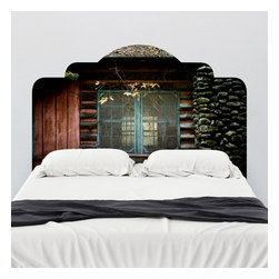 J. Paul Moore - Paul Moore's Rustic Cabin Headboard Wall Decal - Whether it's your winter escape or your summer hideaway, a rustic cabin adhesive headboard wall decal is perfect for all seasons.